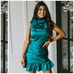 TCEC Ruched Mini Dress In Green